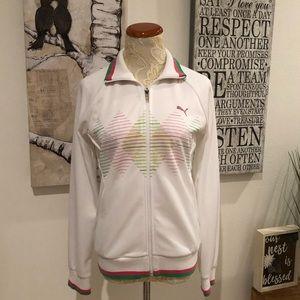 Ladies Retro Track Jacket White Pink Green Medium